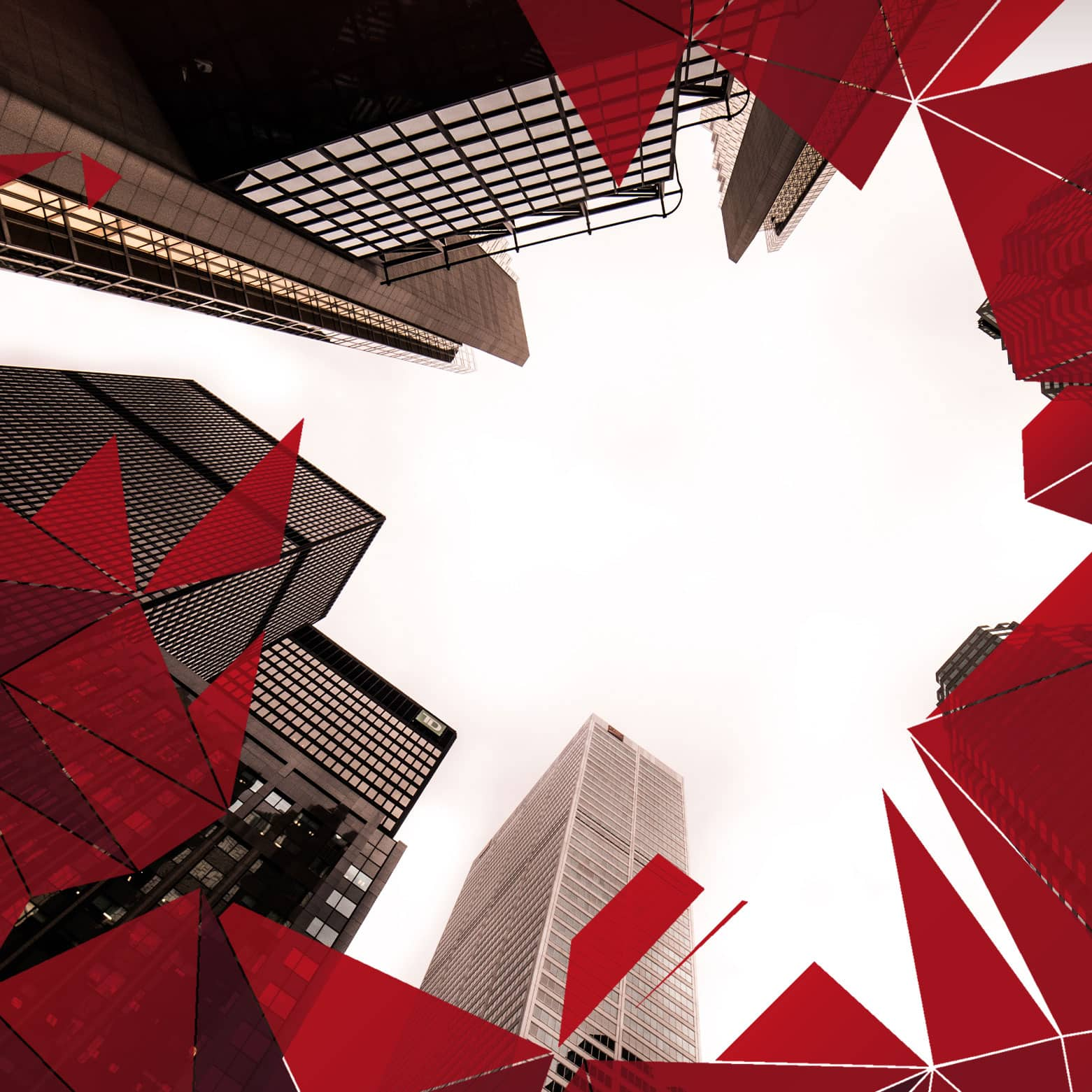 Image of tall urban buildings branded with OFIFC shapes overlay